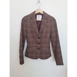 H&M Plaid Blazer, Wool + Polyester Blend - size 2